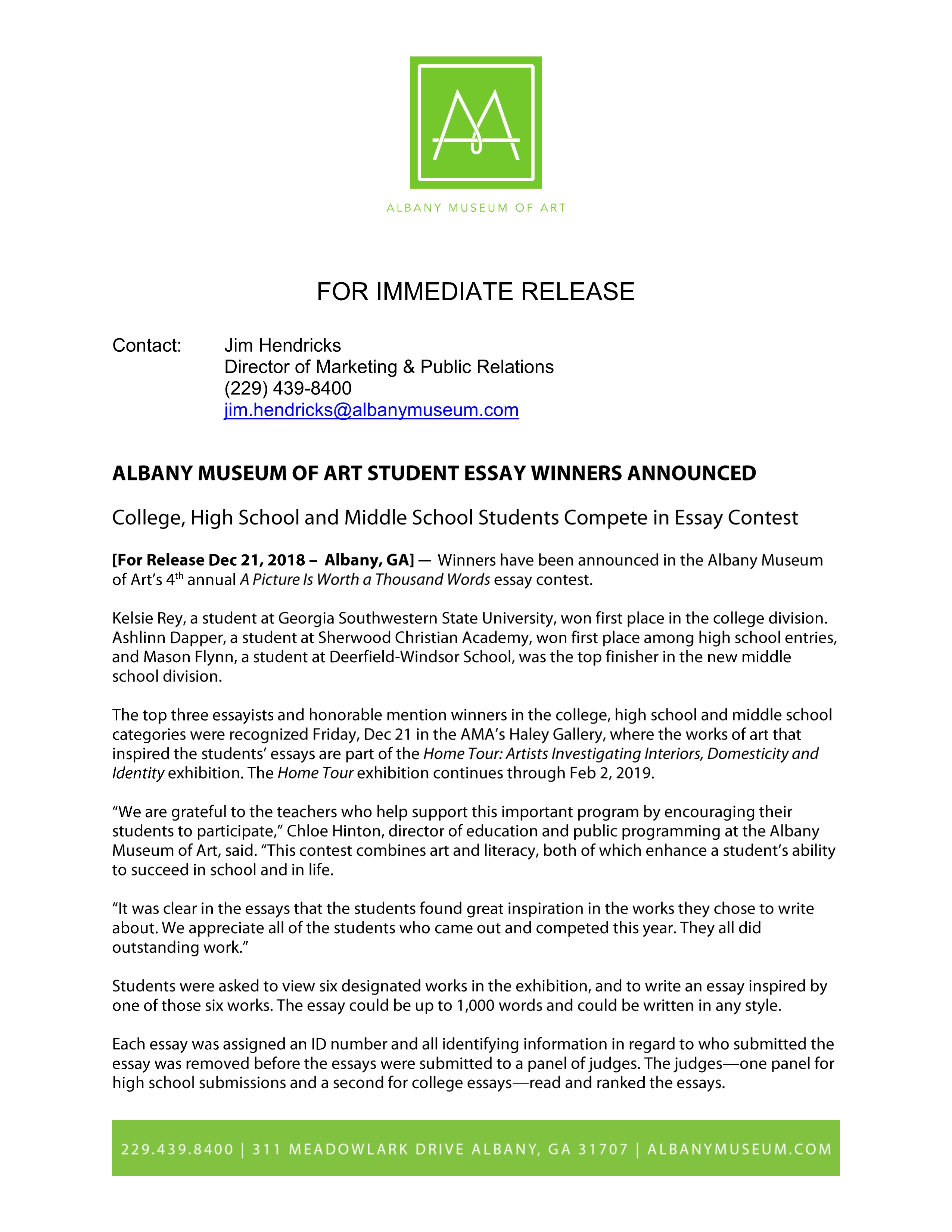 Albany Museum Of Art Student Essay Winners Announced  Albany Area  Albany Museum Of Art Student Essay Winners Announced